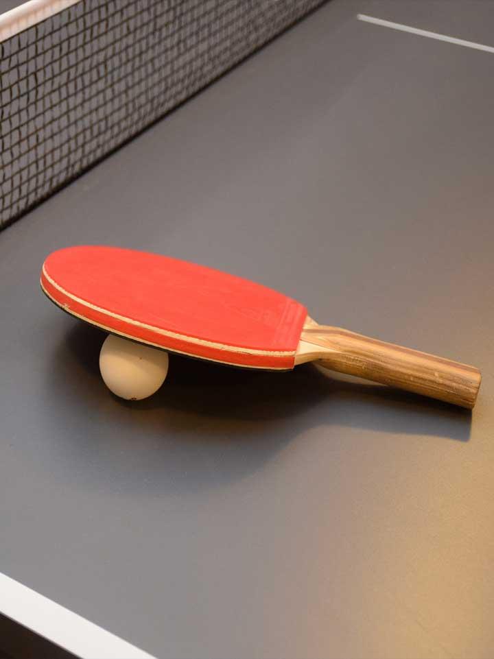 Rakietka od tenisa stołowego oparta na piłeczce do ping-ponga, położona za stole do tenisa z rozciągniętą siatką w tle.