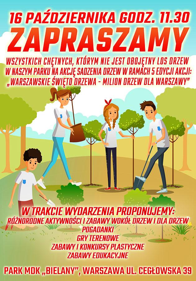 plakat 16 października promujący sadzenie drzew w parku mdk