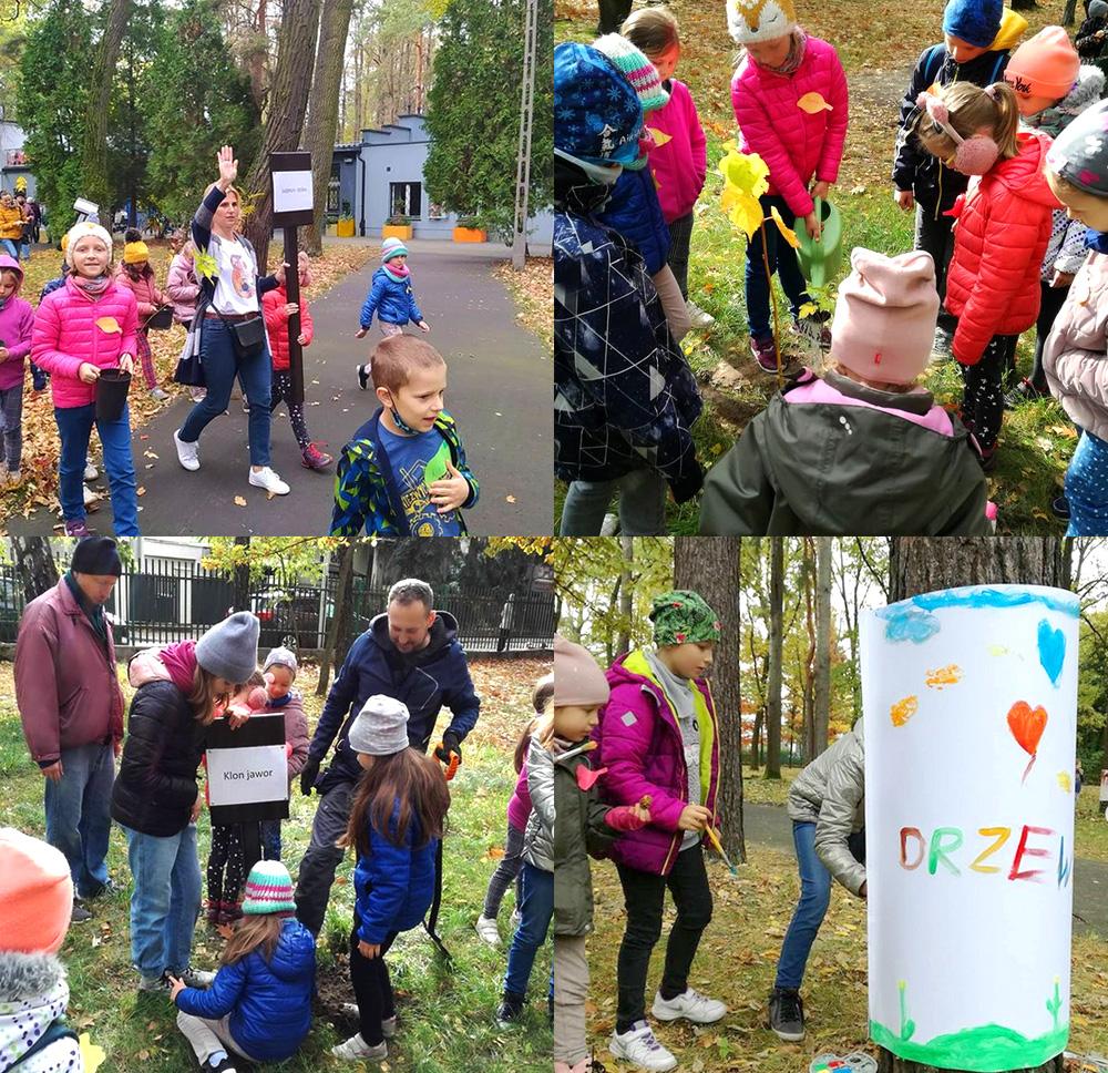 relacja fotograficzna z akcji sadzenia drzewek w parku mdk bielany. na 4 zdjęciach widoczne kolorowo ubrane dzieci sadzące drzewka w parku